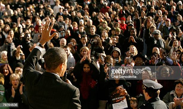 Sen Barack Obama address an overflow crowd outside a rally at the Bender Arena at American University January 28 2008 in Washington DC Obama recieved...