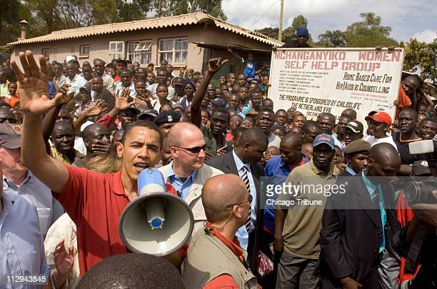 US Sen Barack Obama addresses the crowd during a visit to Kibera the largest slum in Africa within the city of Nairobi Kenya on August 27 2006