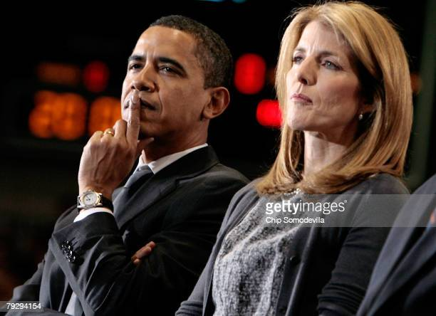Sen Barack Obama and Caroline Kennedy attend a rally in the Bender Arena at American University January 28 2008 in Washington DC Obama recieved the...