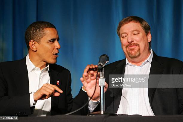 Sen Barack Obama and Saddleback Church Pastor Rick Warren joke before the start of a press conference after they took a public HIV rapidtest at the...