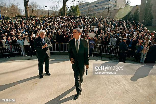 Sen Barack Obama and Sen Edward Kennedy address an overflow crowd outside a rally at the Bender Arena at American University January 28 2008 in...