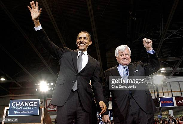 Sen Barack Obama and Sen Edward Kennedy participate in a campaign rally in the Bender Arena at American University January 28 2008 in Washington DC...