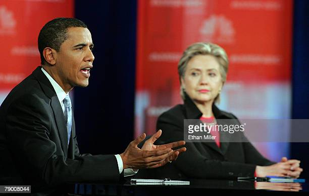 Sen Barack Obama and Sen Hillary Clinton appear during a Democratic Presidential debate at Cashman Center January 15 2008 in Las Vegas Nevada After a...