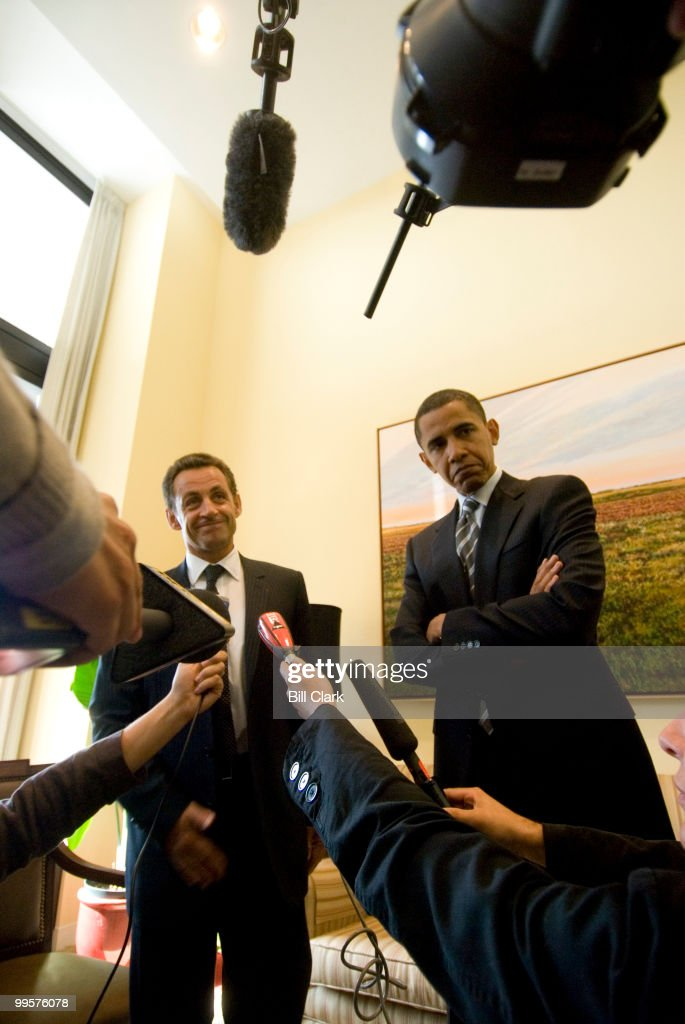 Sen. Barack Obama, D-Ill., meets with French Interior Minister Nicolas Sarkozy in Senator Obama's office on Tuesday, Sept. 12, 2006.