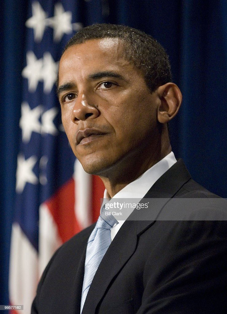 Sen. Barack Obama, D-Ill., participates in a news conference on Senate ethics reform legislation in the Senate TV studio on Monday Jan. 8, 2006.
