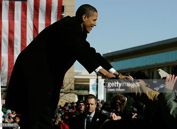 Sen Barack Obama greets supporters at a rally in front of the old historic State Capitol building February 10 2007 in Springfield Illinois Obama...