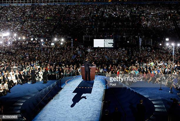 Sen. Barack Obama speaks as he accepts the Democratic presidential nomination at Invesco Field at Mile High at the 2008 Democratic National...