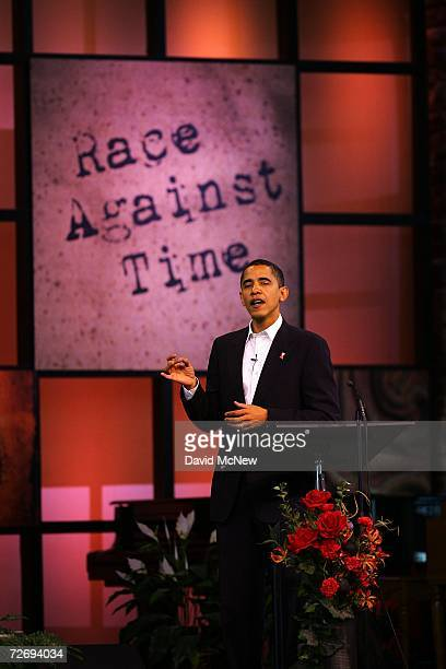 Sen Barack Obama speaks at the second annual Global Summit on AIDS and The Church at Saddleback Church December 1 2006 in Lake Forest California...