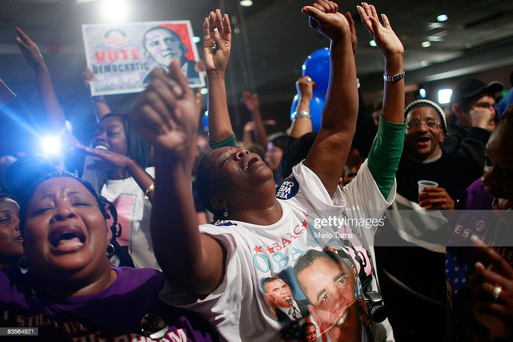 U.S. Sen. Barack Obama (D-IL) supporters celebrate as his win of the presidential election is announced November 4, 2008 in Birmingham, Alabama. Birmingham, along with Selma and Montgomery, were touchstones in the civil rights movement where Dr. Martin Luther King Jr. led massive protests which eventually led to the Voting Rights Act of 1965 ending voter disfranchisement against African-Americans. Boutwell Auditorium is the same the auditorium where Sen. Strom Thurmond launched his racist 'Dixiecrat' presidential campaign in 1948 and where singer Nat King Cole was attacked onstage by Ku Klux Klansmen during a 'whites only' concert performance in 1957.Americans voted in the first presidential election featuring an African-American candidate, Democratic contender Sen. Barack Obama, who ran against Republican Sen. John McCain.