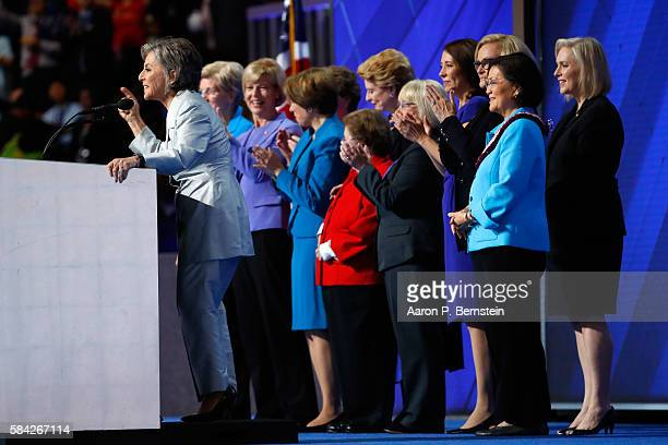 Sen Barbara Boxer delivers remarks along with members of the Democratic Women of the Senate on the fourth day of the Democratic National Convention...