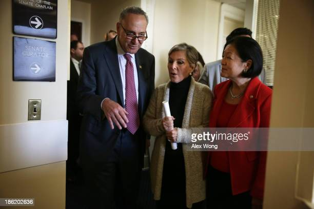 S Sen Barbara Boxer Sen Charles Schumer and Sen Mazie Hirono leave after a news conference on debt ceiling increases October 29 2013 on Capitol Hill...