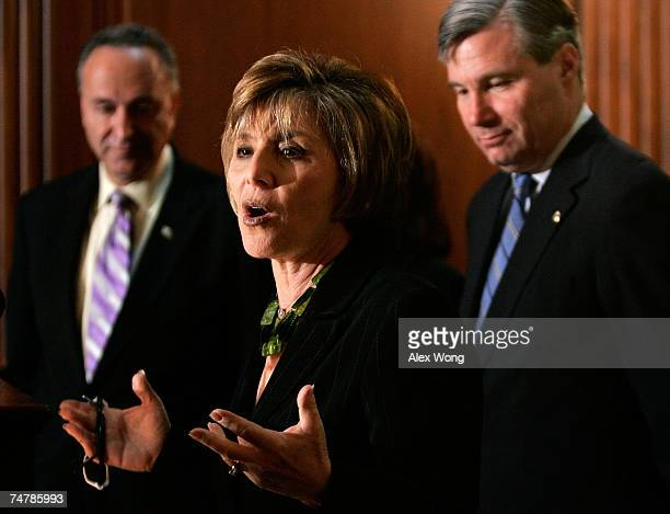 S Sen Barbara Boxer speaks as Sen Charles Schumer and Sen Sheldon Whitehouse look on during a news conference on energy efficiency and the Renewable...