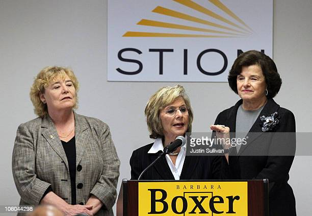 S Sen Barbara Boxer speaks as Sen Dianne Feinstein and US Rep Zoe Lofgren looks on during a news conference after touring the Stion production...