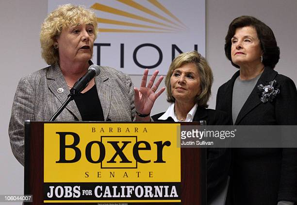 S Sen Barbara Boxer speaks as Sen Dianne Feinstein look on as US Rep Zoe Lofgren speaks during a news conference after touring the Stion production...