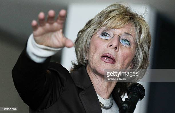 S Sen Barbara Boxer speaks during a news conference about the Wall Street reform legislation that is now on the Senate floor May 10 2010 in San...