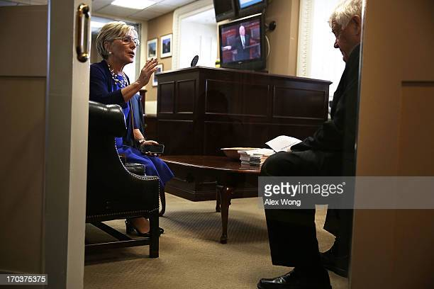 S Sen Barbara Boxer talks to Rep Jim McDermott prior to a news conference June 12 2013 on Capitol Hill in Washington DC Boxer and McDermott held a...
