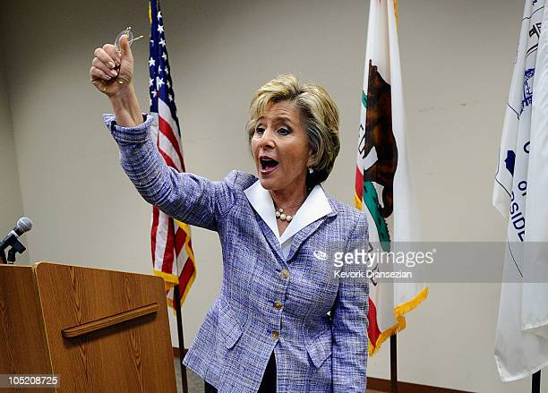 S Sen Barbara Boxer thanks Riverside County Registrar's Office workers after casting her vote during early voting for the California midterm election...