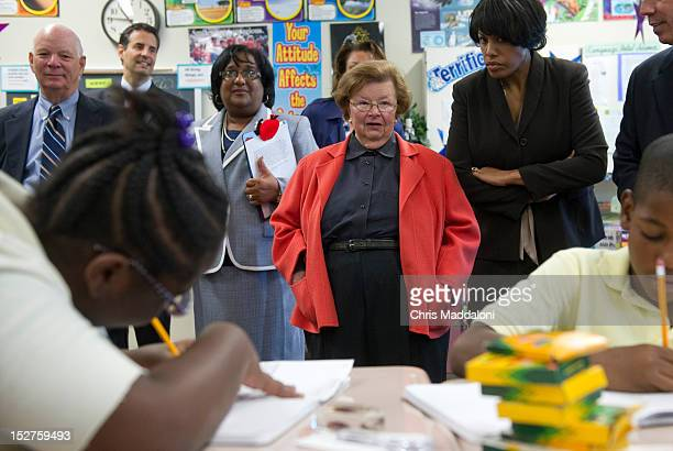 Sen. Barbara Mikulski, D-Md., and Mayor Stephanie Rawlings-Blake visit a 5th grade class at Baltimore's Arlington Elementary & Middle School to...