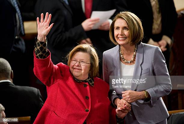 Sen Barbara Mikulski DMd and Speaker Nancy Pelosi DCalif acknowledge the crowd before President Barack Obama delivered his State of the Union address...