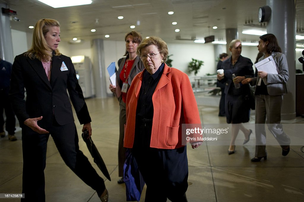Sen. Barbara Mikulski, D-Md., arrives for an all-Senators briefing on the ongoing investigation in the Boston Marathon bombings.