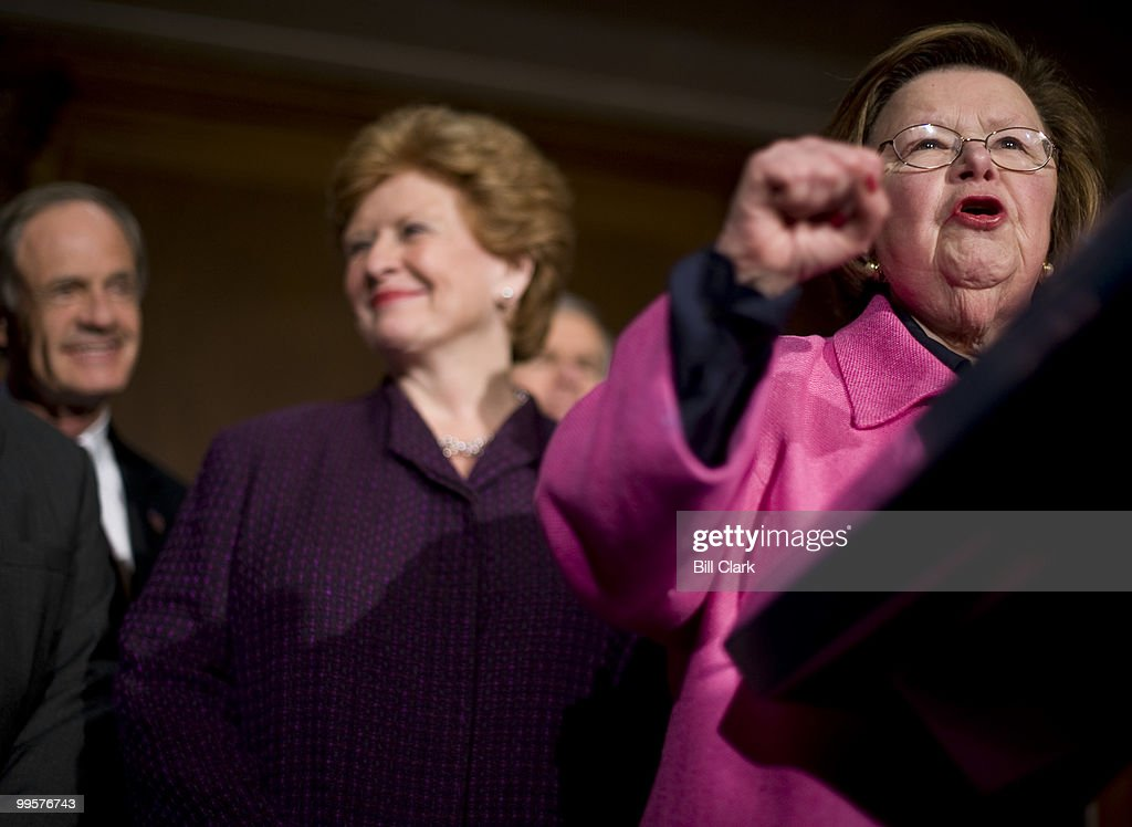 Sen. Barbara Mikulski, D-Md., speaks during the Senate Democrats' news conference following the passage of the healthcare reconciliation bill on Thursday, March 25, 2010.