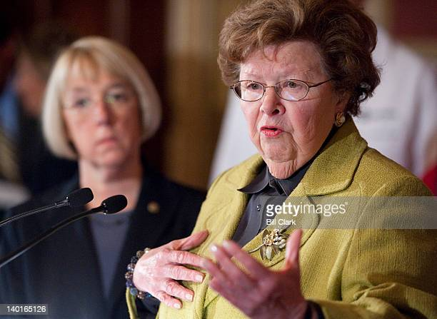 Sen. Barbara Mikulski, D-Md., speaks during the Senate Democrats' news conference to oppose a Republican amendment to the transportation...