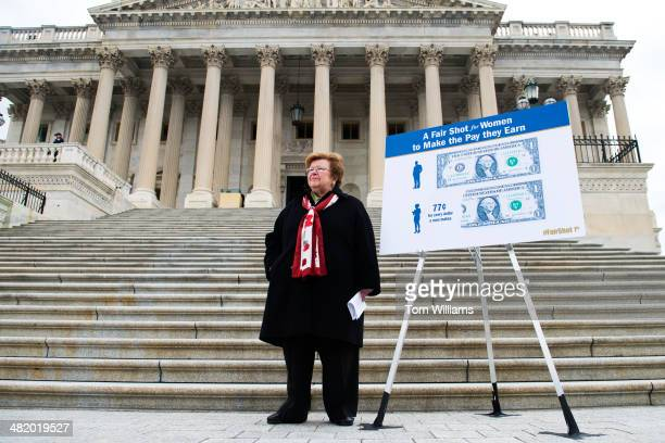 Sen Barbara Mikulski DMd waits for her colleagues to arrive before a news conference on the Senate steps of the Capitol to support equal pay for...