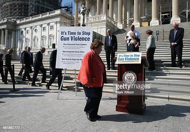 Sen Barbara Mikulski joins her Senate colleagues at a news conference on gun control on the Senate steps at the US Capitol October 8 2015 in...