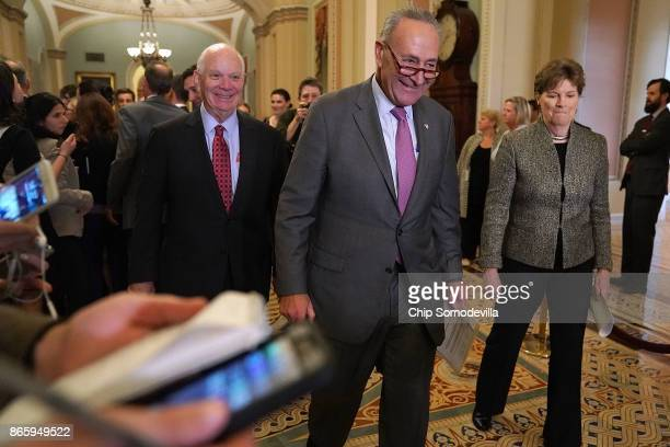 Sen Ben Cardin Senate Minority Leader Chuck Schumer and Sen Jeanne Shaheen address reporters folling the weekly Democratic policy luncheon at the US...