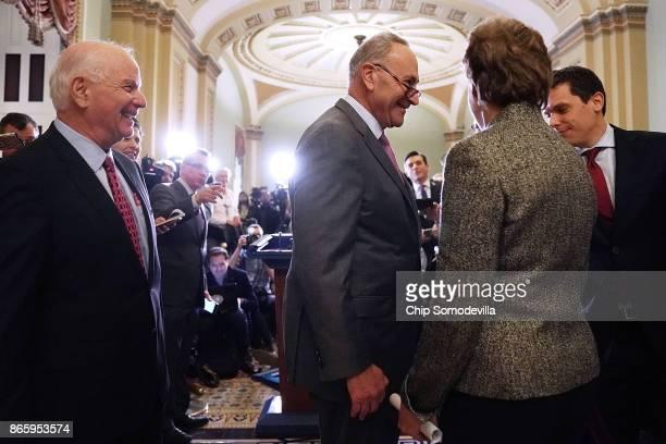 Sen Ben Cardin Senate Minority Leader Chuck Schumer and Sen Jeanne Shaheen react to the news that Sen Jeff Flake announced that he will not seek...