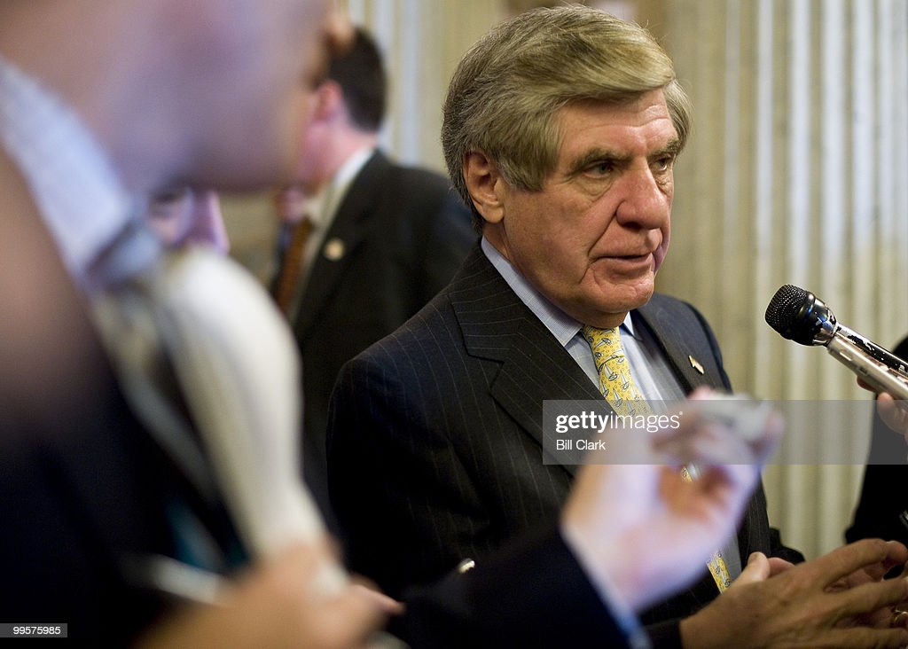 Sen. Ben Nelson, D-Neb., speaks to reporters as he leaves the Senate Floor in the U.S. Capitol on Wednesday, Oct. 14, 2009.