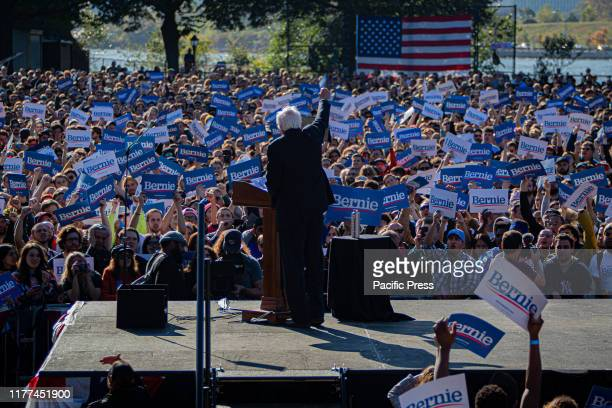 """Sen. Bernard Sanders during the event dubbed """"Bernie's Back Rally"""" comes as Sanders returns to campaigning after suffering a heart attack earlier..."""
