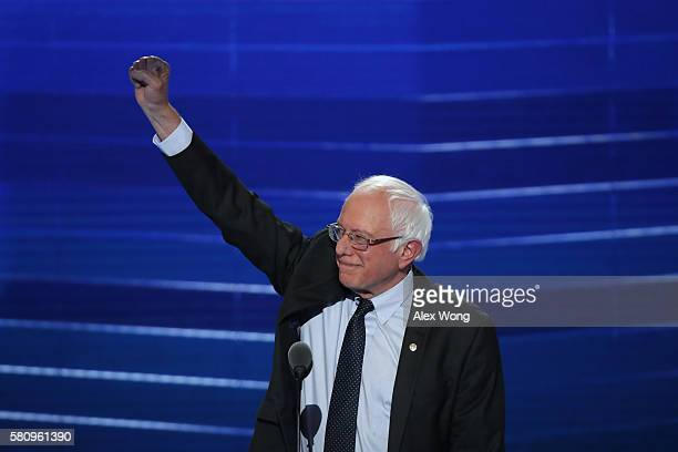 Sen. Bernie Sanders acknowledges the crowd before delivering remarks on the first day of the Democratic National Convention at the Wells Fargo...