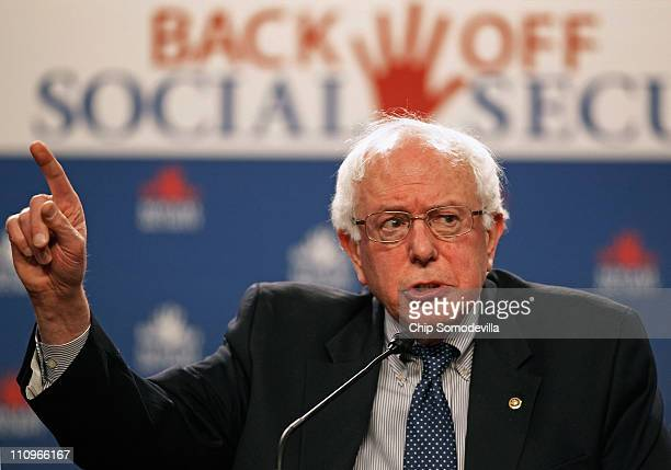 Sen Bernie Sanders addresses a rally in support of Social Security in the Dirksen Senate Office Building on Capitol Hill March 28 2011 in Washington...