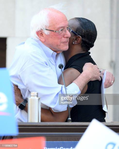 Sen Bernie Sanders and Bernie2020 campaign cochair Nina Turner embrace on stage during a rally to protest the imminent closure of Hahnemann...