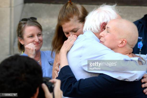 Sen Bernie Sanders and patient Maria Garcia Bulkley embrace after a rally to protest the imminent closure of Hahnemann University Hospital in...