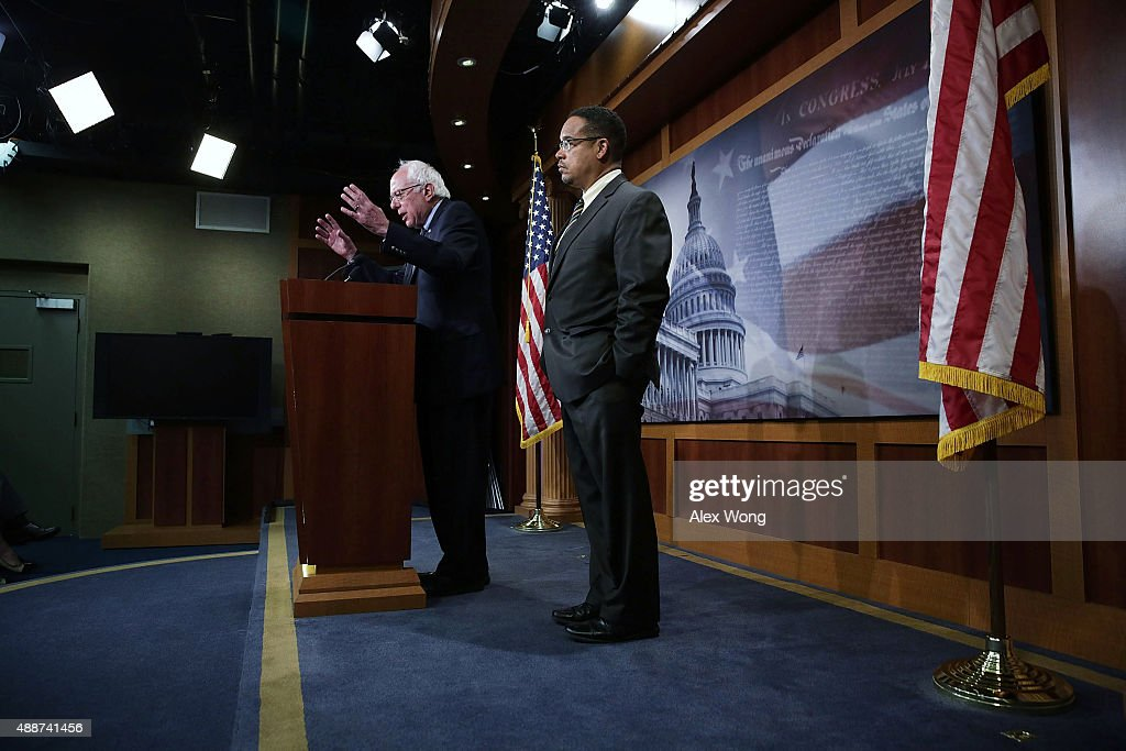 U.S. Sen. Bernie Sanders (I-VT) (L) and Rep. Keith Ellison (D-MN) (R) speak to members of the media during a news conference about private prisons September 17, 2015 on Capitol Hill in Washington, DC. The legislators announced that they will introduce bills to ban private prisons.