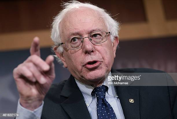 Sen Bernie Sanders answers questions during a press conference at the US Capitol January 16 2014 in Washington DC Sanders spoke on Republican efforts...