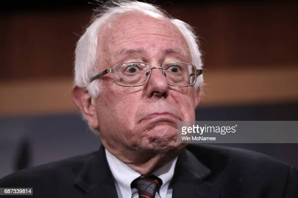 Sen. Bernie Sanders answers questions during a press conference at the U.S. Capitol May 23, 2017 in Washington, DC. Senate and House Democrats held...