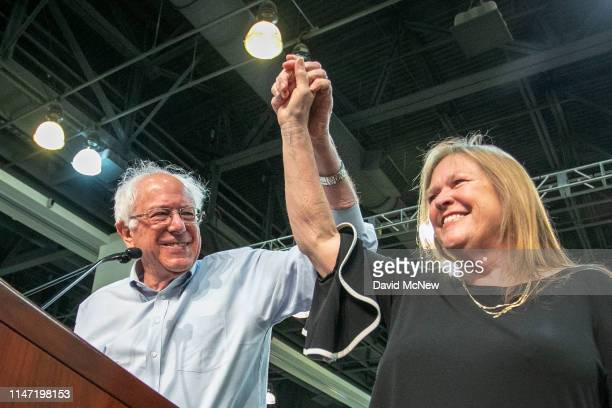 Sen Bernie Sanders appears with his wife Jane at a campaign rally at the PasadenaConventionCenter on May 31 2019 in Pasadena California Sanders and...