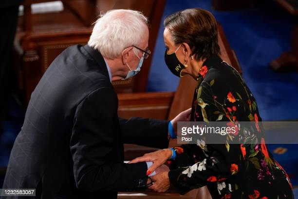 Sen. Bernie Sanders arrives before a speech by President Joe Biden to a joint session of Congress in the House chamber of the U.S. Capitol April 28,...