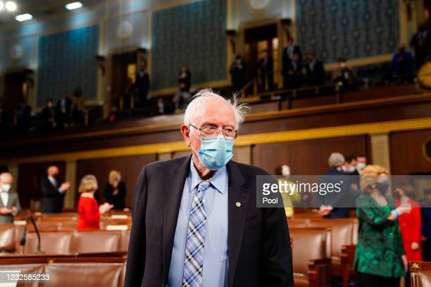 Sen. Bernie Sanders arrives before President Joe Biden addresses a joint session of Congress in the House chamber of the U.S. Capitol April 28, 2021...
