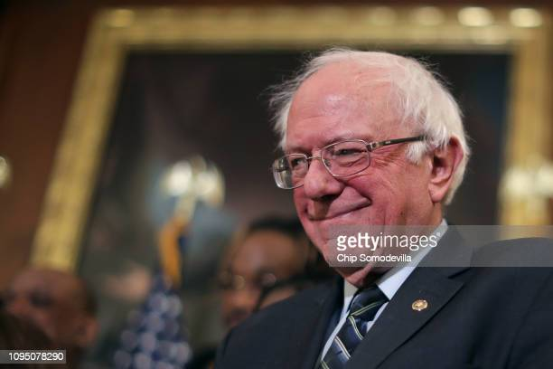 Sen Bernie Sanders attends an event to introduce the Raise The Wage Act in the Rayburn Room at the US Capitol January 16 2019 in Washington DC The...