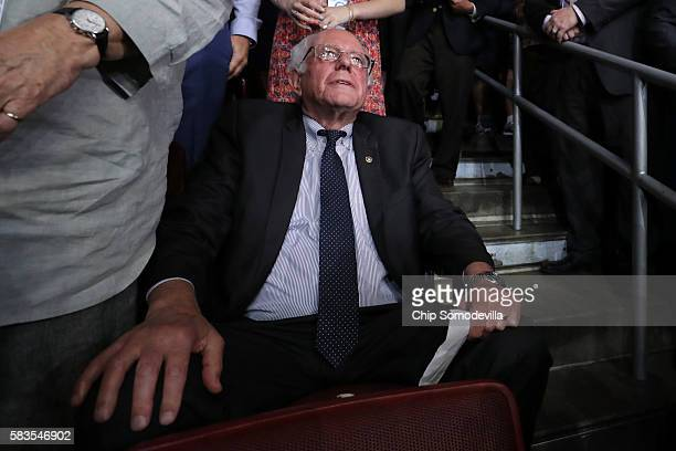 Sen Bernie Sanders attends roll call on the second day of the Democratic National Convention at the Wells Fargo Center July 26 2016 in Philadelphia...