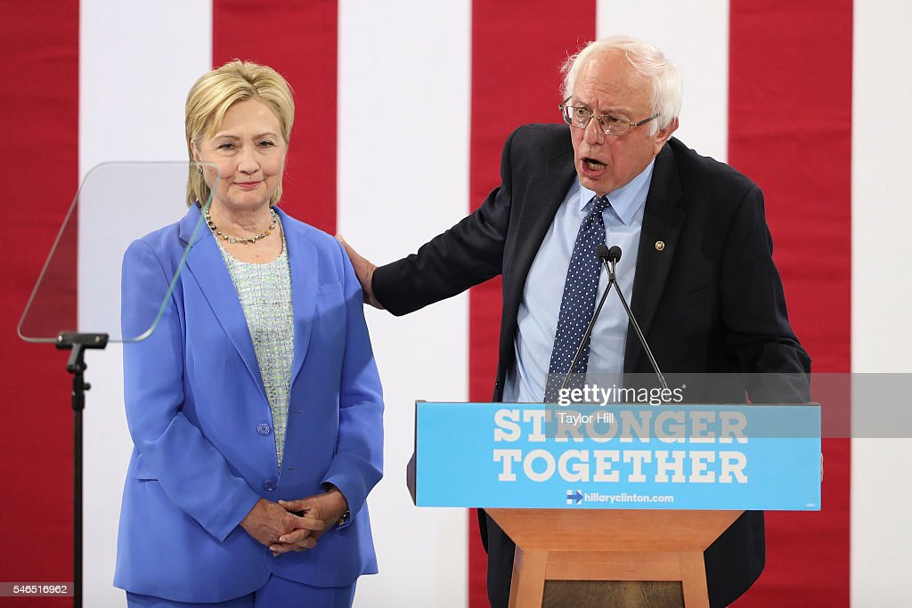 Senator Bernie Sanders Endorses Hillary Clinton In New Hampshire : News Photo