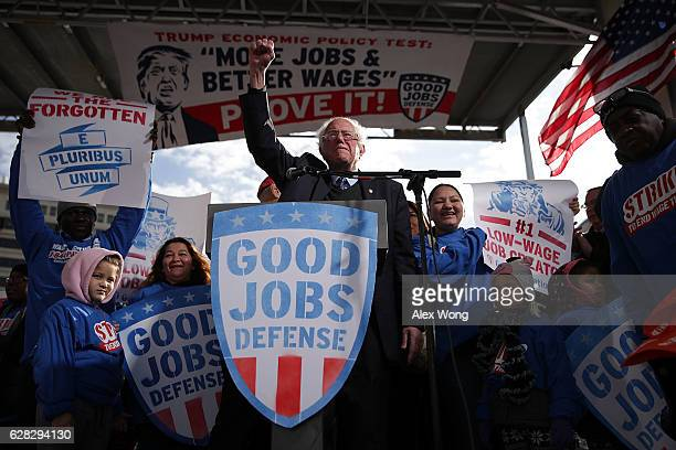 S Sen Bernie Sanders gestures during a rally on jobs December 7 2016 at Freedom Plaza in Washington DC Our Revolution and Good Jobs Nation the...