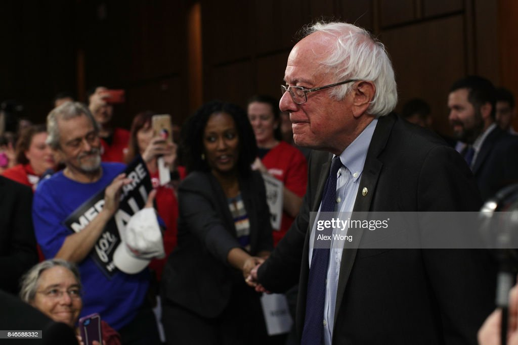 U.S. Sen. Bernie Sanders (I-VT) greets supporters as he arrives at an event on health care September 13, 2017 on Capitol Hill in Washington, DC. Sen. Sanders held an event to introduce the Medicare for All Act of 2017.