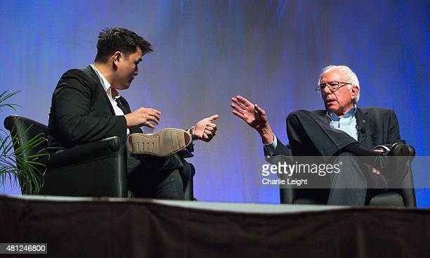 S Sen Bernie Sanders has a discussion with moderator Jose Antonio Vargas at the Netroots Nation 2015 Presidential Town Hall in the Phoenix Convention...