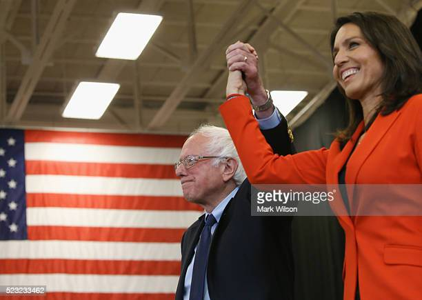 Sen Bernie Sanders is introduced to speak by RepTulsi Gabbard during a campaign stop at the Bream Wright Hauser Athletic Complex at Gettysburg...