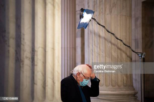 December 16: Sen. Bernie Sanders, I-Vt., prepares to do an interview with MSNBC in the Russell Rotunda in Washington on Wednesday, Dec. 16, 2020.